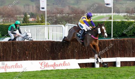 Storm Control and Richard Patrick jump the last in the Unibet Handicap Chase at Cheltenham.