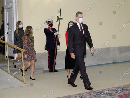 Spain's King Felipe VI (R-L), Queen Letizia, Leonor, Princess of Asturias and Infanta Sofia arrive to chair the meeting of the patronage of Girona's Princess Foundation at El Pardo palace near Madrid city, central Spain, 11 December 2020. The Prince of Girona Foundation was created in 2009 by a group of Catalan businesspeople and financiers, with the patronage of Felipe, then heir to the throne. Prince/princess of Girona is one of the titles of the Spanish heir apparent. The organisation aims to 'support young people in their professional and personal development' through a number of initiatives, including the prizes, which it awards yearly in five categories: Arts and Letters, Social, Entity, Scientific Research and Business.