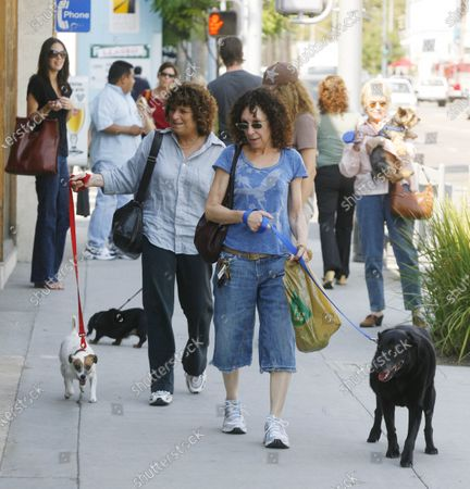 Exclusive - Rhea Pearlman who starred on the hit television sitcom Cheers and is married to actor/director Danny Devito takes a stroll along Beverly Drive in Beverly Hills, Ca with a friend and their dogs