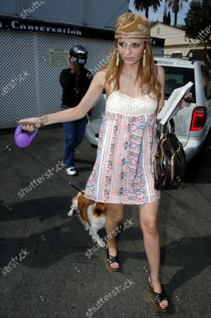 Stock Image of Mischa Barton looking very Boho chic as she heads to her car with her new puppy and a copy of the novel Dry by Augusten Burroughs the author of Running With Scissors after having lunch at the popular Le Converssation Restaurant in West Hollywood, Ca