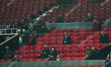 Former Chief Executive David Gill and former manager Sir Alex Ferguson sit in the director's box
