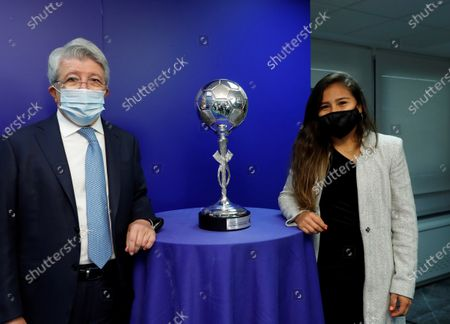 Editorial picture of Atletico Madrid's Leicy Santos poses with the EFE News Agency Sports Trophy, Spain - 11 Dec 2020