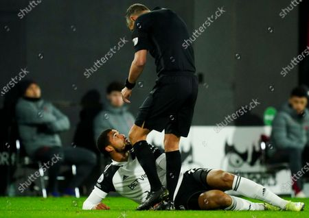 Stock Photo of Ruben Loftus-Cheek of Fulham talks with referee Andre Marriner after he was fouled