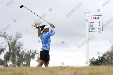 Stock Photo of Gerina Piller follows her drive off the 10th tee during the second round of the U.S. Women's Open golf tournament in Houston