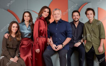 Stock Image of Their Majesties King Abdullah II and Queen Rania and Their Royal Highnesses Crown Prince Al Hussein, Prince Hashem, Princess Iman, and Princess Lalla Salma in this year's holiday greeting photo