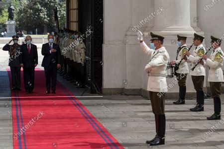 The President of Chile, Sebastian Pinera (2-L), receives his Colombian counterpart, Ivan Duque (3-L), at the Palacio de La Moneda in Santiago, Chile, 11 December 2020. Duque arrived in Santiago to assume the pro tempore presidency of the Pacific Alliance on Friday, and on Saturday that of the Forum for the Progress of South America (Prosur), which he will receive from his Chilean counterpart, Sebastian Pinera, official sources reported.