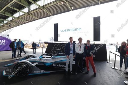 Stock Photo of David Coulthard, British racing driver and TV Presenter, Alejandro Agag, CEO, Formula E, and Dr Wolfgang Eder, Chairman and CEO of Voestalpine AG.