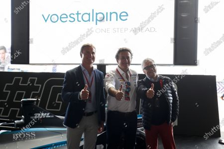 Stock Picture of David Coulthard, British racing driver and TV Presenter, Alejandro Agag, CEO, Formula E, and Dr Wolfgang Eder, Chairman and CEO of Voestalpine AG.