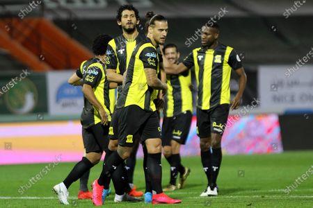 Al-Ittihad's player Aleksandar Prijovic (C) celebrates with teammates after scoring a goal during the Saudi Professional League soccer match between Al-Shabab and Al-Ittihad at Prince Khalid bin Sultan Stadium, in Riyadh, Saudi Arabia, 11 December 2020.
