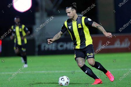 Al-Ittihad's player Aleksandar Prijovic in action during the Saudi Professional League soccer match between Al-Shabab and Al-Ittihad at Prince Khalid bin Sultan Stadium, in Riyadh, Saudi Arabia, 11 December 2020.