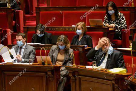 Stock Picture of Jean Terlier, Yael Braun Pivan and Eric Dupond-Moretti, Minister of Justice.