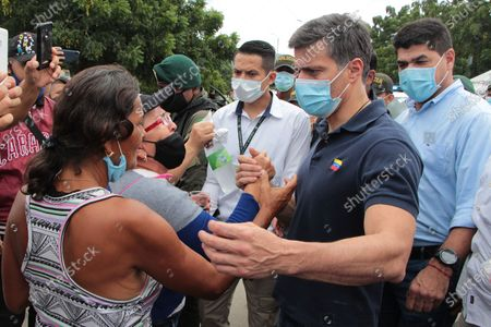 Venezuelan opposition leader Leopoldo Lopez greets citizens of his country in the sector of La Parada, border point with Venezuela near the city of Cucuta, Norte de Santander, Colombia, 11 December 2020. The Venezuelan politician will be in Colombia for several days, and after meeting a day earlier with President Ivan Duque, he visits the main place of emigration of his fellow citizens, bordering the state of Tachira.
