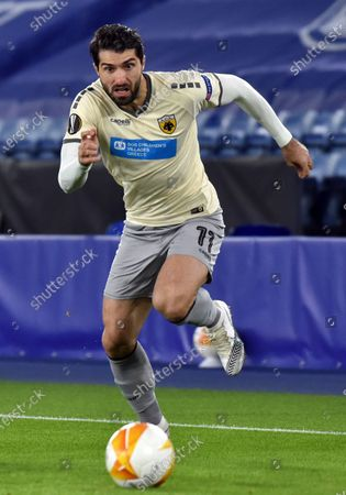 Stock Image of Athen's Karim Ansarifard during the Europa League Group G soccer match between Leicester City and AEK Athens at the King Power Stadium in Leicester, England