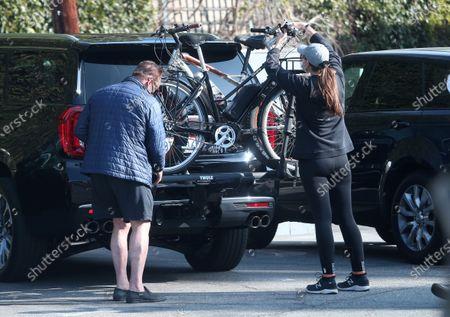 Arnold Schwarzenegger and Christina Schwarzenegger seen before a bike ride in Brentwood