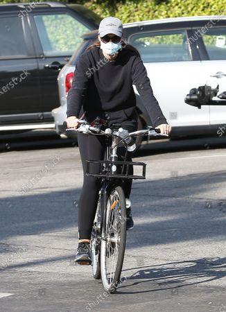 Christina Schwarzenegger seen on a bike ride in Brentwood