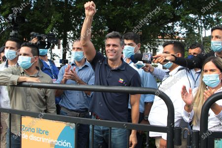 The Venezuelan opposition leader Leopoldo Lopez (C) greets the Venezuelan citizens who receive him in the La Parada sector, the border point with Venezuela, near the city of Cucuta, Colombia, 11 December 2020. Lopez, who arrived in Colombia from Spain on 09 December and held a meeting with President Ivan Duque, visited the main emigration passage of his compatriots in Cucuta, on the border with the Venezuelan state of Tachira, from where he insisted on the request to Venezuelans to participate in the popular consultation and reiterated its call for protests on 12 December.