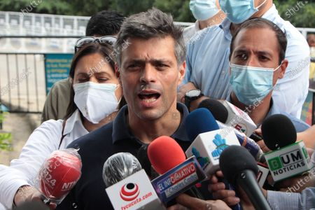 Venezuelan opposition leader Leopoldo Lopez speaks to journalists in the La Parada sector, the border point with Venezuela, near the city of Cucuta, Colombia, 11 December 2020. Lopez, who arrived in Colombia from Spain on 09 December and held a meeting with President Ivan Duque, visited the main emigration passage of his compatriots in Cucuta, on the border with the Venezuelan state of Tachira, from where he insisted on the request to Venezuelans to participate in the popular consultation and reiterated its call for protests on 12 December.