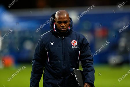 Stock Image of Reading First Team Coach Coach Quinton Fortune; The Kiyan Prince Foundation Stadium, London, England; English Football League Championship Football, Queen Park Rangers versus Reading.