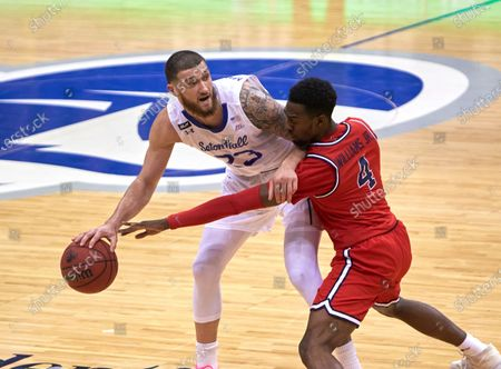 , 2020, Newark, New Jersey, USA: Seton Hall Pirates forward Sandro Mamukelashvili (23) gets pressured by St. John's Red Storm guard Greg Williams Jr. (4) in the first half at the Prudential Center in Newark, New Jersey. Seton Hall defeated St Johns 77-68