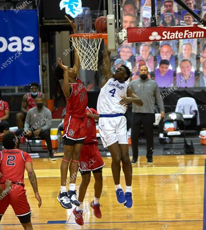 , 2020, Newark, New Jersey, USA: St. John's Red Storm forward Isaih Moore (13) blocks Seton Hall Pirates forward Tyrese Samuel (4) shot in the first half at the Prudential Center in Newark, New Jersey. Seton Hall defeated St Johns 77-68