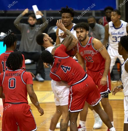 , 2020, Newark, New Jersey, USA: Seton Hall Pirates guard Takal Molson (15) and St. John's Red Storm guard Greg Williams Jr. (4) battle for a loose ball in the first half at the Prudential Center in Newark, New Jersey. Seton Hall defeated St Johns 77-68