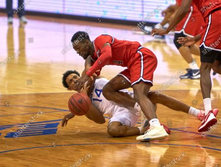 , 2020, Newark, New Jersey, USA: Seton Hall Pirates guard Jared Rhoden (14) and St. John's Red Storm guard Greg Williams Jr. (4) battle for a loose ball in the first half at the Prudential Center in Newark, New Jersey. Seton Hall defeated St Johns 77-68