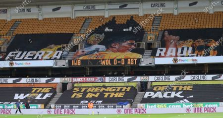 Banner for Wolverhampton Wanderers' Mexican striker Raul Jimenez is seen in the stands before the English Premier League soccer match between Wolverhampton and Aston Villa at Molineux Stadium in Wolverhampton, England, Saturday, Dec.12, 2020