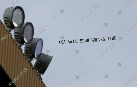 Stock Picture of An aerial banner made by fans in support of the revered number nine, Wolverhampton Wanderers player Raul Jimenez, is on display ahead of the English Premier League soccer match between Wolverhampton Wanderers and Aston Villa in Wolverhampton, Britain, 12 December 2020.
