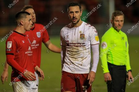 Northampton Town defender Joe Martin (3) after he had been sent off during the EFL Sky Bet League 1 match between Crewe Alexandra and Northampton Town at Alexandra Stadium, Crewe