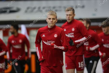 Stock Photo of Aberdeen's Ryan Duncan (46) warming up during the Scottish Premiership match between Aberdeen and Ross County at Pittodrie Stadium, Aberdeen