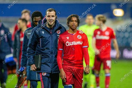 Goalscorer Reading midfielder Michael Olise (7) with Reading first team coach John O'Shea after the the EFL Sky Bet Championship match between Queens Park Rangers and Reading at the Kiyan Prince Foundation Stadium, London