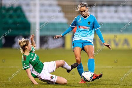 Cork City vs Peamount United. Peamount's Stephanie Roche with Eabha O'Mahony of Cork City