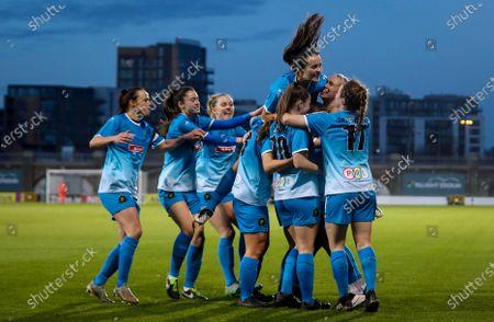 Cork City vs Peamount United. Peamount's Stephanie Roche celebrates scoring a goal with teammates