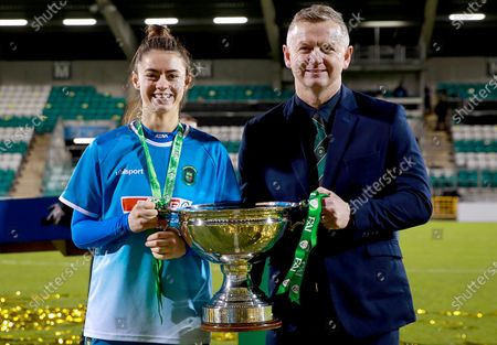 Stock Image of Cork City vs Peamount United. Peamount's Lauryn O'Callaghan with dad and manager James O'Callaghan