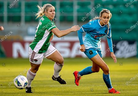 Cork City vs Peamount United. Peamount's Stephanie Roche with Nathalie O'Brien of Cork City