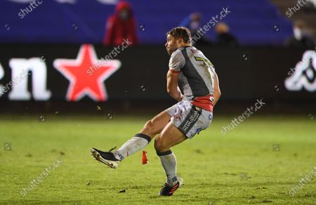 Leigh Halfpenny of Scarlets kicks at goal.