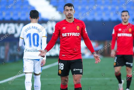 Stock Photo of Antonio Sanchez of RCD Mallorca lamenting during Liga Smartbank football match played between CD Leganes and RCD Mallorca at Butarque stadium on December 12, 2020 in Leganes, Madrid, Spain.