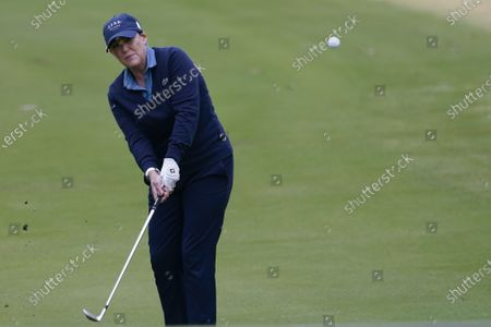 Stock Picture of Cristie Kerr hits on the first fairway during the third round of the U.S. Women's Open golf tournament, in Houston