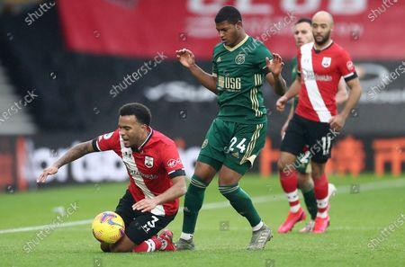 Ryan Bertrand of Southampton is fouled by Rhian Brewster of Sheffield United.