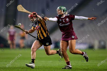 Galway vs Kilkenny. Galway's Emma Helebert with Katie Nolan of Kilkenny