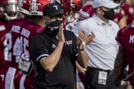 Troy head coach Chip Lindsey cheers his team against Coastal Carolina before an NCAA college football game, in Troy, Ala