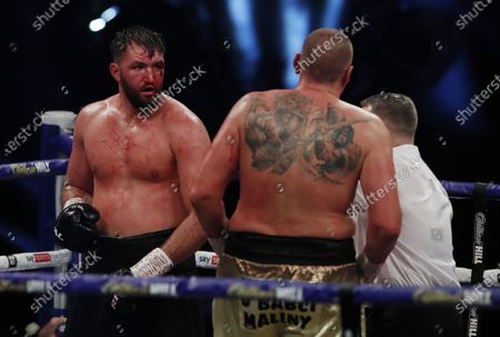 Hughie Fury of Britain (L) and Mariusz Wach of Poland during their heavyweight bout at the SSE Arena in London, Britain, 12 December 2020.