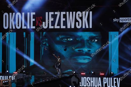 Lawrence Okolie of Britain reacts as he walks towards the ring for his WBO International Cruiserweight Title bout with Nikodem Jezewski of Poland at the SSE Arena in London, Britain, 12 December 2020.