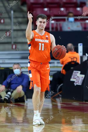 Chestnut Hill, MA, USA; Syracuse Orange guard Joseph Girard III (11) in action during the NCAA basketball game between Syracuse Orange and Boston College Eagles at Conte Forum