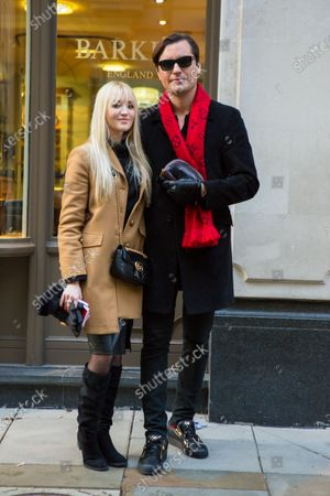 British Entrepreneur Raef Bjayou and girlfriend Tianna are seen along Jermyn Street in London