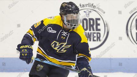 Merrimack Warriors forward Liam Walsh (9) during an NCAA hockey game against the Northeastern Huskies, in Boston, Massachusetts