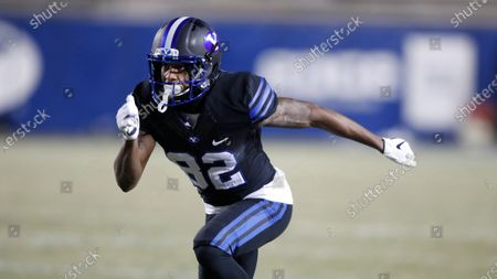 Stock Picture of Wide receiver Chris Jackson (82) runs a rout in the second half, of an NCAA college football game against San Diego State, in Provo, Utah