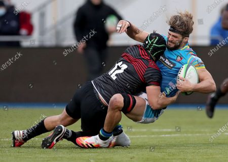 Stock Picture of Harry Sloan of Saracens tackles Luke Wallace of Leicester