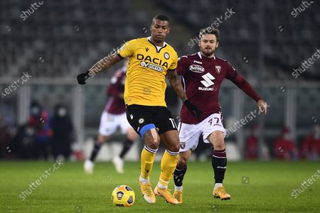 "Walace Souza Silva (Udinese) Karol Linetty (Torino)           during the Italian ""Serie A"" match between Torino 2-3 Udinese  at  Olimpic Stadium in Torino, Italy."