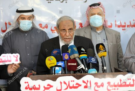 Senior Hamas leader Mahmoud al-Zahar, speaks during a press conference against normalization, at the legislative council, in Gaza city on December 13, 2020.